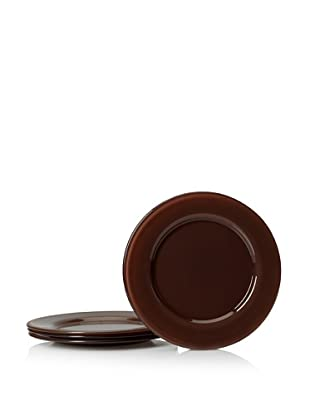 10 Strawberry Street Set of 4 Love Dinner Plates, Chocolate, 9.75