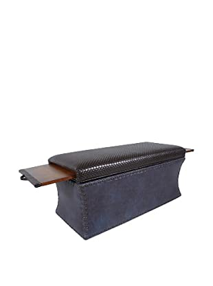 COUEF Carey Storage Bench, Coffee/Chocolate/Distressed Indigo