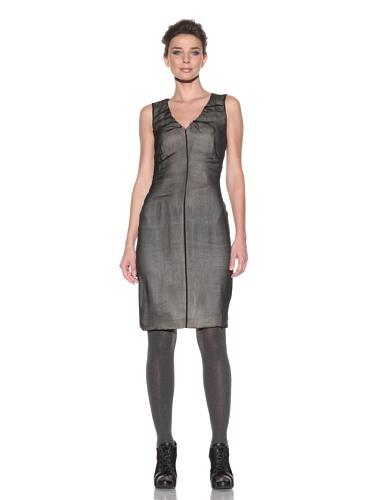 D&G by Dolce & Gabbana Women's Chiffon Overlay V-Neck Dress (Black)