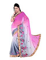 Khushali Multicolored Rani & Gray Georgette Saree With Unstitched Blouse Piece