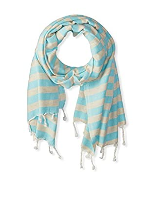 Nomadic Thread Turkish Throw Shawl, Beige/Turquoise
