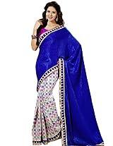 Bharat Plaza Navy Blue Georgette Sari