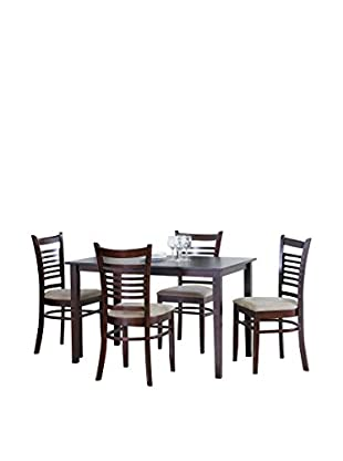 Baxton Studio Cathy 5-Piece Dining Set, Light Cappuccino