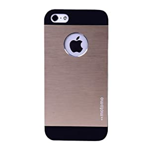 SisTum Luxury Brushed Metal Back Case Cover For Apple iPhone 5/5S (Champagne Gold)