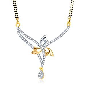 Meenaz Flower Cz Gold & Rhodium Plated Cz Mangalsutra Pendent For Women 719