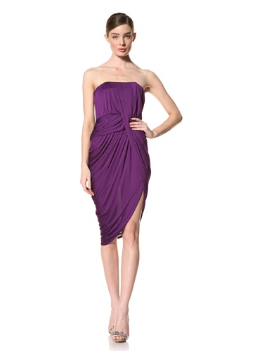 Doo.Ri Women's Strapless Dress with Asymmetrical Draped Front (Purple)