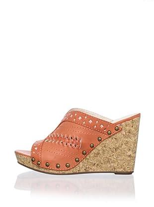 Adrienne Vittadini Women's Cat Slide Wedge Sandal (Coral)