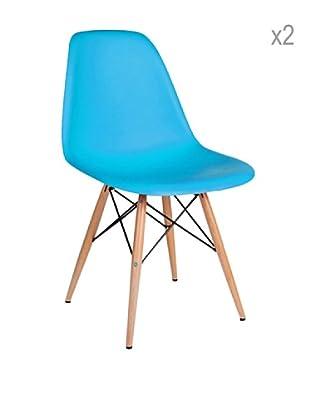 Lo+deModa Set De 2 Sillas Wooden Color Edition Turquesa