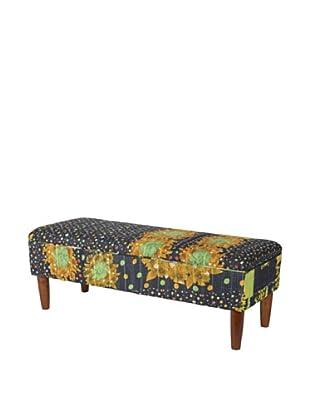 One of a Kind Kantha Bench, Black/Amber Multi