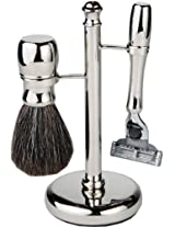 3 Piece Shaving Set With Mach 3 Heavyweight Handle, 100% Badger Brush, With All metal Chrome Classy Stand (Unique Design)