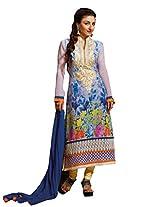 Sky Blue Colour Faux Georgette Semi Party Wear Patch Embroidery Floral Print Churidar Suit 1280