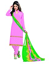 Khushali Presents Embroidered Georgette Dress Material(Pink)