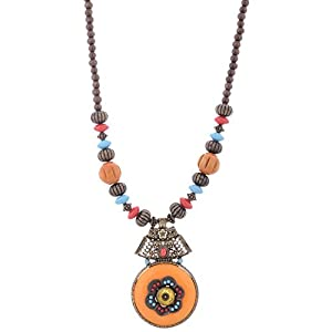 The Crazy Neck Orange Beads Neckpiece Necklace