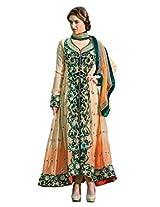 Anvi Creations Cream Semi Stitched Anarkali Dress Material (Cream_Free Size)