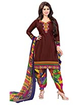 Indiankala4u Women Cotton Embroidered Dress Material , Maroon