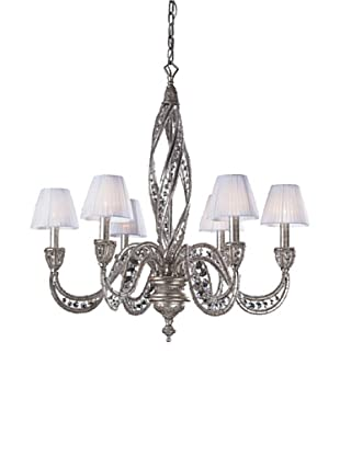 ELK Lighting Renaissance 6-Light Chandelier with Crystal Accents, Sunset Silver