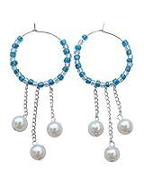 Foppish Mart Mesmerizing Blue & White triple layered Pearl Danglers/ Earrings For Women