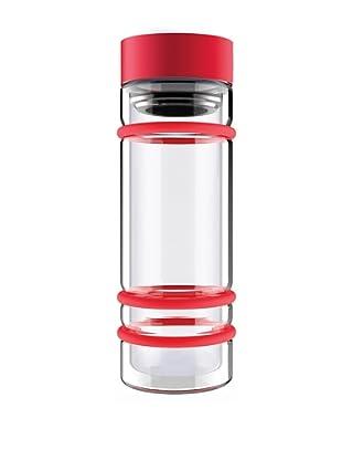 AdNArt Bumper Bottle Double Wall Glass Bottle (Red/Red Lid)