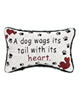 A Dog Wags Its Tail With Its Heart Throw Pillow - USA Made - 12-1/2 by 8-1/2-Inch