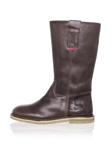 Kickers Kid's Credoline Leather Boot (Little Kid) (Dark Brown)