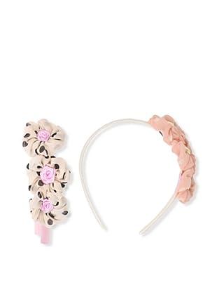 Liliella Pink and Beige Polka Dot Flower Headband Set