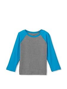 Soft Clothing for Kid's Boy's Raglan Long Sleeve Tee (Grey Heather/Blue Danube)