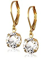 1928 Jewelry 14k Gold-Dipped Swarovski Crystal Dangle Earrings