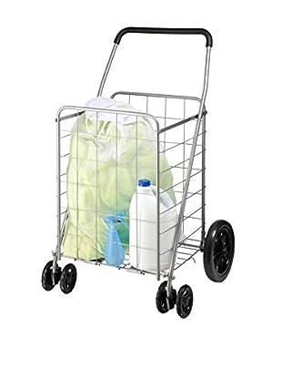 Honey-Can-Do Dual Wheel Utility Cart, Grey Powder Coat