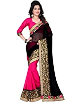 Kesar Women's Georgette Saree (KESB230_BLACK & PINK)