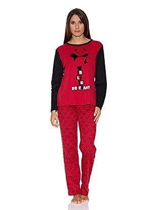 Bluedreams Pijama Punto Liso (Granate)