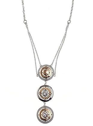 Cerruti Collar R41082SPZ Circonita Acero Plata y Oro Rosa