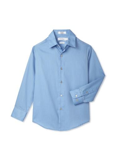 Calvin Klein Boy's 8-20 Sateen Hanging Dress Shirt (Blue)