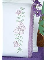 Jack Dempsey Stamped Pillowcases with Hemstitched Edge, Butterflies, 2-Pack