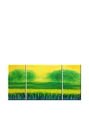 Legendarte Ölgemälde auf Leinwand 3er Set Foschia Surreale mehrfarbig