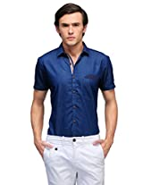 Edjoe Men's Royal Blue Solid Slim fit Party/Casual Wear Shirt