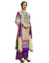Admyrin Multi Colour Cotton Printed Salwar Kameez with Chikan Work Bottom