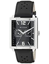 Titan Black/Silver Dial Multifunction Men's Watch - 1678SL03