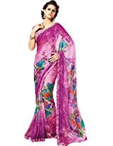 Pagli shaded pink printed georgette saree with printed silk border.