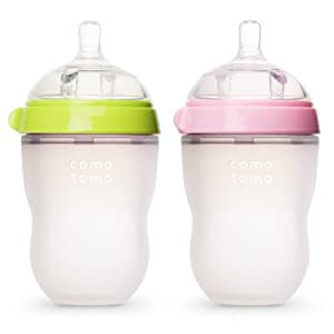 Comotomo 250T Baby Bottle-Green/Pink