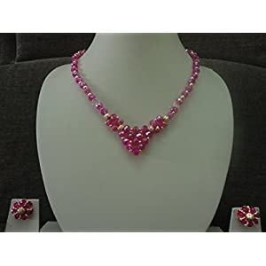 Mona Jewels Crystal Necklace Set in Pink and Gold