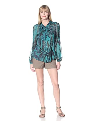 Hale Bob Women's Snake Print Blouse with Neck Tie (Teal)
