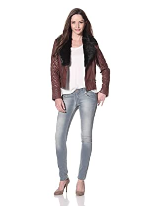 Cote by IMPROVD Women's Eden Leather Moto Jacket with Fur Collar (Burgundy)