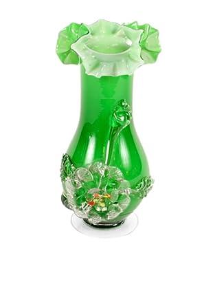 C. 1960's Art Glass Vase, Green/White/Clear
