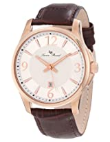 Lucien Piccard Men's 11566-RG-02S Adamello Silver Textured Dial Brown Leather Watch