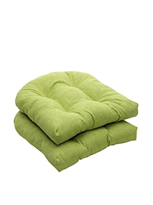 Pillow Perfect Set of 2 Outdoor Baja Textured Solid Wicker Seat Cushions, Lime Green