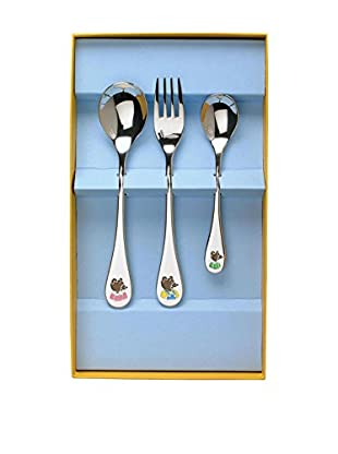 Guy DeGrenne 3-Piece Petit Ours Brun Child's Flatware Set, Mirror