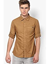 Solid Khaki Casual Shirt Celio