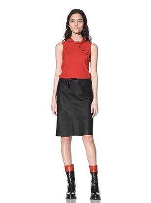 Ann Demeulemeester Women's Button Panel Leather Skirt (Black)