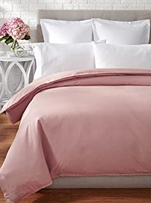 Coyuchi Lace 220 Percale Duvet Cover (Washed Rose)