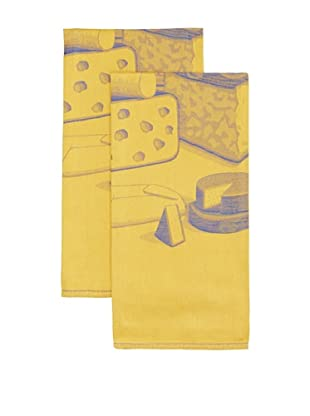 Mierco Fine Linens Set of 2 Formaggio Cheese Jacquard Tea Towels, Yellow/Blue, 23